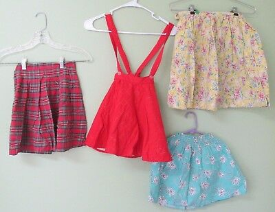 Vintage Little Girl 1950's Skirt Collection Of 4 / Plaid,floral, Bows, And Quilt
