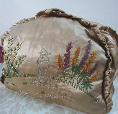 Antique Victorian GOLD Teapot Tea Cozy 1880 Hand Embroidered Embroidery Flowers