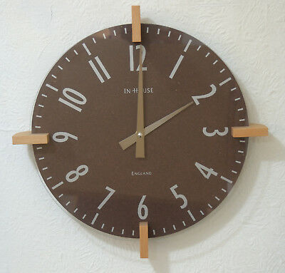 InHouse Peg Wall Clock Dark Brown Hand Made in England