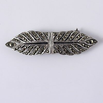 Vintage Silver Marcasite Double Dress Clips Brooch c.1930s 10.4g