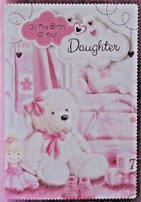 new baby girl congratulations greeting card on the birth of your daughter