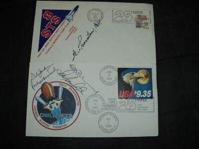 STS 8 flown cover 4x orig.signed, SPACE