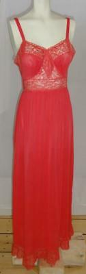 ~60's Harvey Woods Nightgown Candy Apple Red Nylon Tricot Lots Of Lace Size 34~