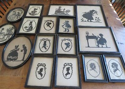 Wonderful Antique/Vintage  Lot of 16 Framed Embroidered Silhouettes