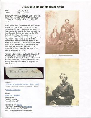 Major David H. Brotherton Autograph Sitting Bull Surrendered to Him Fort Buford