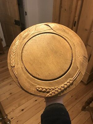 ANTIQUE VICTORIAN 1800s LARGE CARVED WOODEN BREAD BOARD, WHEAT CARVING.
