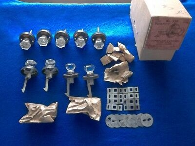 Lot of 11 Vintage Glass Knobs Cabinet Cupboard with Hardware in Original box