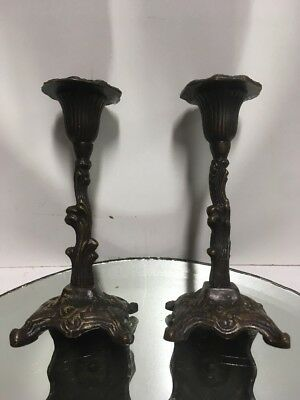 PR ANTIQUE 19th C.-Early 20th C. FRENCH ORNATE SCROLL/LEAF BRONZE CANDLESTICK