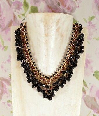 Vintage unusual heavy black faceted glass bead statement necklace