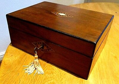 Victorian Rosewood/walnut Sewing/jewellery Box,inlay Bands,lock & Key,red Intr'r