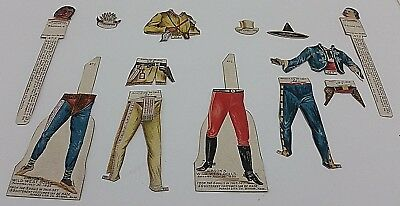Antique GIBSON'S WILD WEST Paper Dolls Vtg x2 Indian Washakie Cowboy Mexican Joe