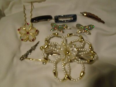 9 Hair Accessories barrette bobby pins slide in piece one from France vintage