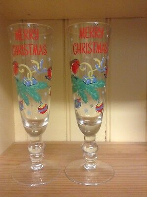 Cath Kidston Christmas Champagne Flutes Decorated With Robins, Stars And Baubles