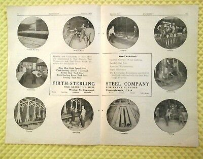 Firth Sterling Steel Company 1914 Large 2 Page Advertising Machinist