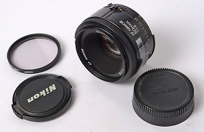 Nikon AF Nikkor 50mm f/1.8 Prime Lens with caps and filter