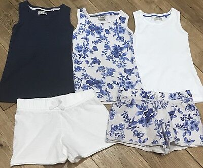 Girls Next Vest Tops & Shorts Bundle In Blue / White & Floral Age 5 Years