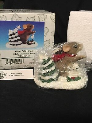 "Charming Tails ""Winter Whirl-Wind"" Fitz and Floyd 87/114 G&L Christmas Barn"