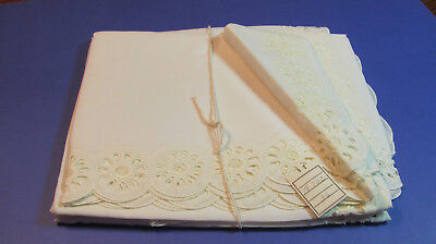 "2 Pair Vintage White Embroidered ""Lovely Lady"" Daisy? Eyelet Curtains 39x36L F22"