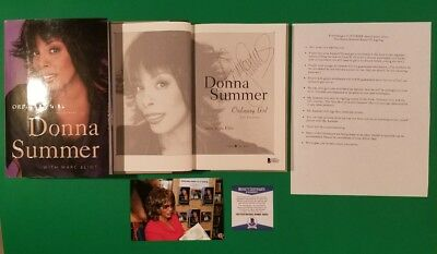 "Rare - Donna Summer Signed Book ""Ordinary Girl"" With Photo Proof Flyer + Bas Coa"