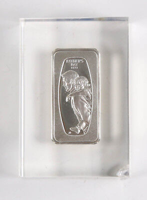 Acrylic Floating 1972 Father's Day 1000 Grains Solid Sterling Silver Bar