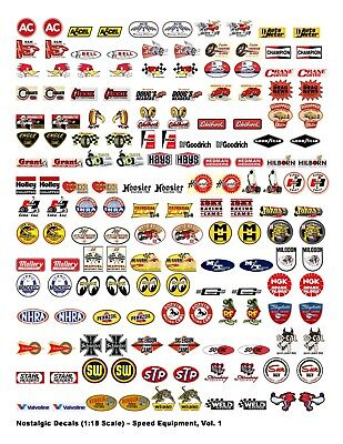 Nostalgic Decals - Speed Equipment, Volume 1 (1:18 Scale)