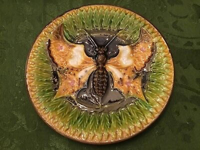 Villeroy and Boch c. 1890  Beautiful exotic rare Majolica moth plate