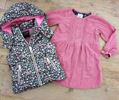 100% Next Girls Bundle Outfit Floral Jacket Gilet Waistcoat Pink Dress Age 3-4 Y