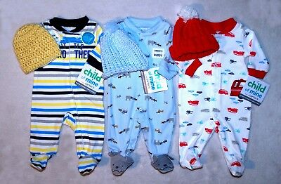 Lot!!! 13 Preemie Baby Boy Outfits + 4 Sets Newborn  5 Free Preemie Items + Hats