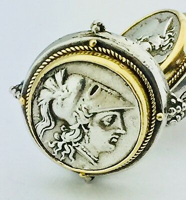Ancient Greek Clip On Coin Earrings Silver 925 & 18k Gold looks Konstantino