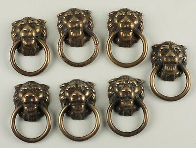 Lot of 7 Vintage Brass Lion Head Pulls Drawer Knocker Handles