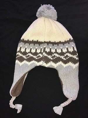 baby boys GAP knit winter HAT gray brown white SIZE 18/24 MONTH fleece lined @@