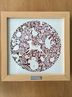 Paper Panda original framed papercut artwork art woodland animals nature VGC