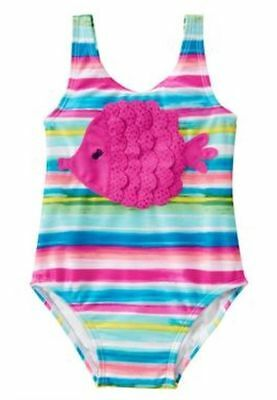 NWT Girls Gymboree 1pc Sparkly Fish Striped Swimsuit sz 3t