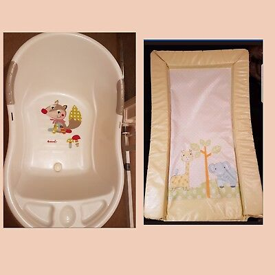 White Baby Bath + Baby Changing Mat
