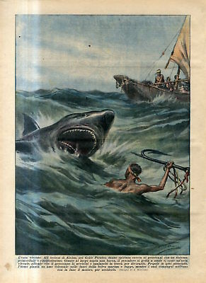 1936 Shark hunting by people of the island of Kishm in the Persian Gulf Print
