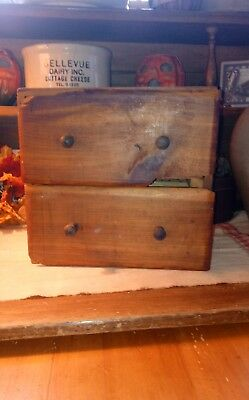 Antique 2 Drawer Wood Pine Apothecary Spice / Wall Cabinet Primitive Aafa