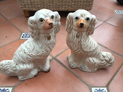 Vintage Porcelin Pair Of Staffordshire Dogs Good Condition