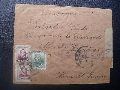 Spain 1938 Civil War Censor cover from Castellon to France