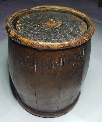 VINTAGE STAVED WOODEN LIDDED OYSTER BARREL 9 INCHES TALL x  7 INCHES ACROSS