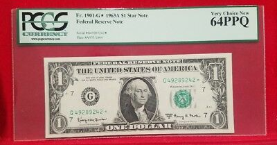 1963A Star $1 US Federal Reserve Banknote PCGS Very Choice New 64PPQ Fr. 1901-G*
