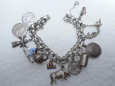 """Vintage Elco Sterling Silver Charm Bracelet with 13 charms 7"""""""