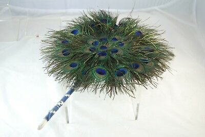 Vintage Peacock Feather Hand Fan With Bound Stick Excellent Condition
