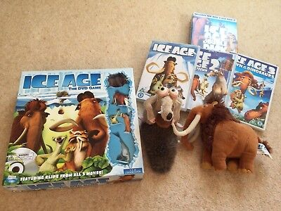 Ice Age The DVD Game (NEW)-DVDs 1, 2 & 3 and 2 x soft toys-Bundle