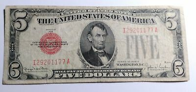 1928 F Old Vintage Five Dollar Bill $5 Dollars Red Seal Note