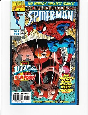 "SPIDER-MAN: PETER PARKER #84 1997 Direct Edition. ""Juggernaut Hits New York"""