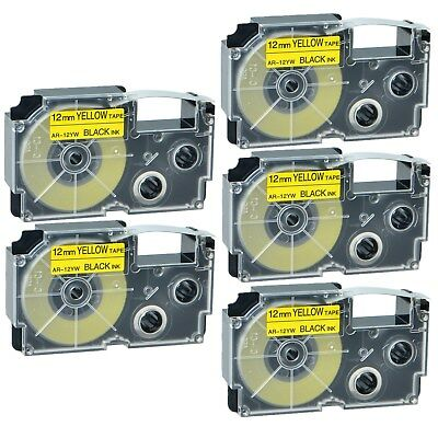 """5PK XR-12YW Black on Yellow Label Tape for Casio KL-60 100 7000 8200 8800 1/2"""""""