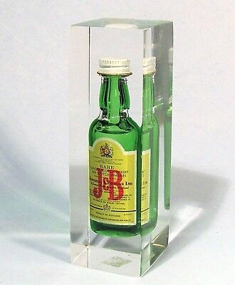 J&b Scotch Miniature Bottle In Lucite Block Vintage Advertising Paperweight