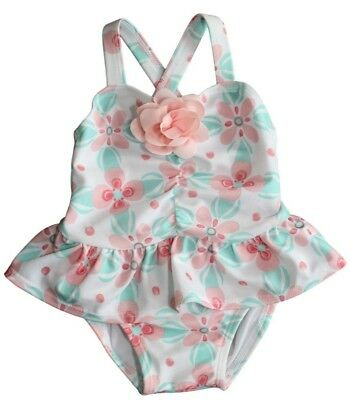 Gymboree Baby Girls Teal Peach Ruched Flower Accent One Piece Swimsuit NEW 3-6mo
