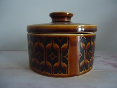 CLASSIC HORNSEA Round BUTTER DISH WITH LID Heirloom Autumn Brown 1970s Vintage