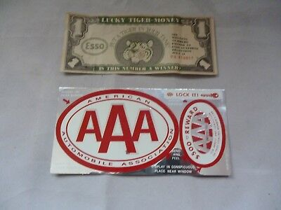 Vintage Unused AAA Auto Decal Sticker and 1966 Esso Gas Lucky Tiger Money